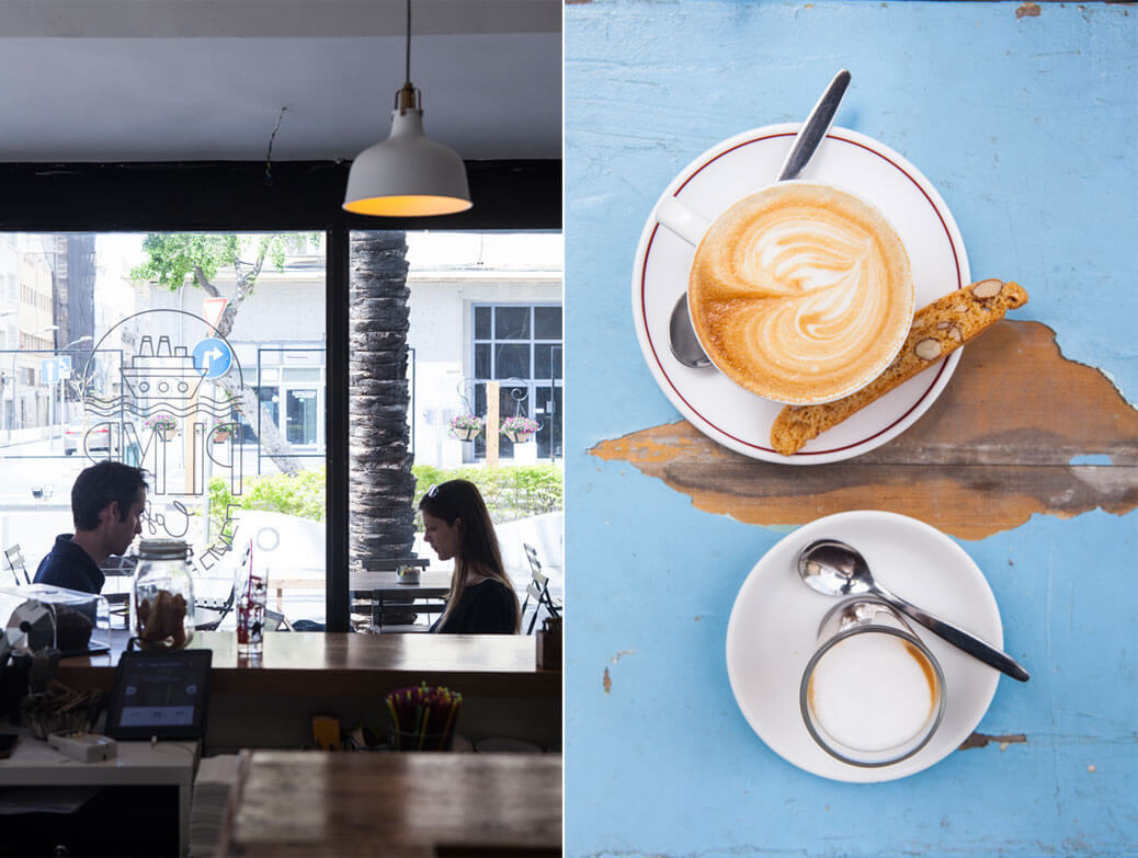 קפה הפוך ואספרסו מבט מלמעלה וזוג יושבים במסעדה