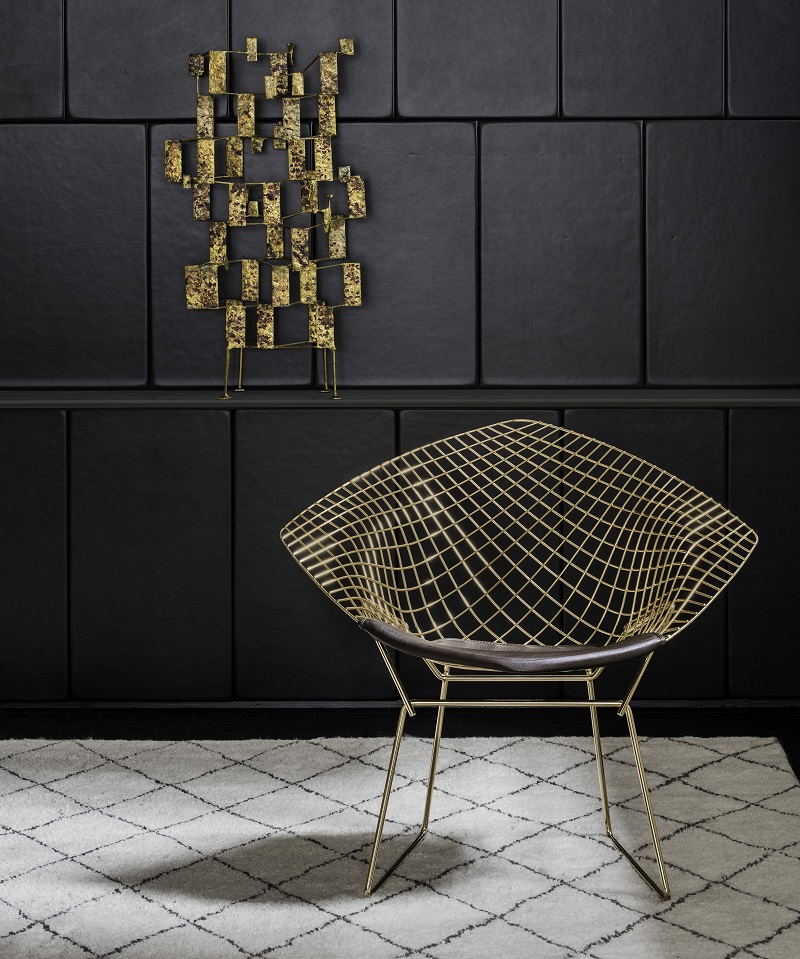Knill, Diamond_Chair Gold By Harry Bertoia
