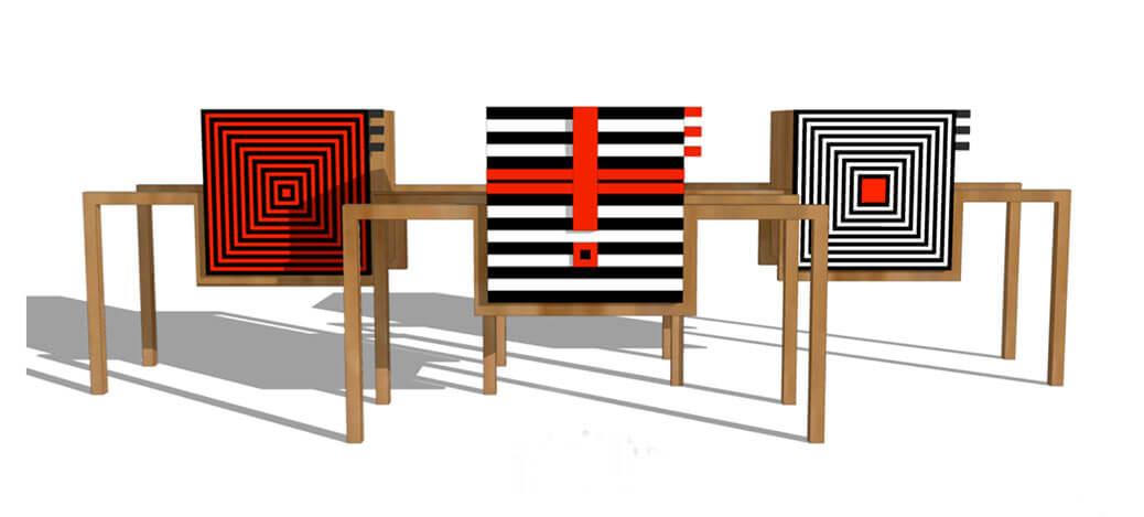 כיסא או שולחן עם פטרנים בצבעים אדום שחור לבן